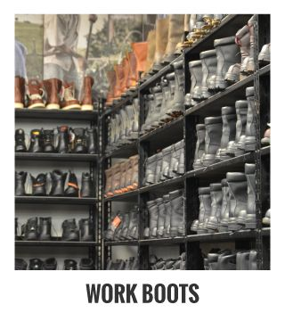 Work Boots; shelves of boots